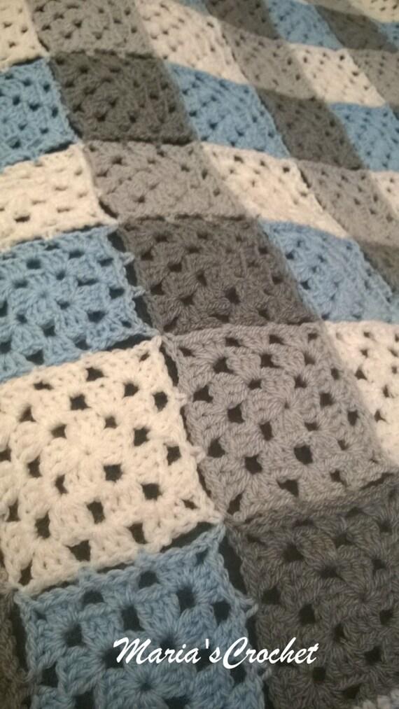 Blau grau weiß Oma-Platz-Baby-Decke moderne Baby Häkeln   Etsy