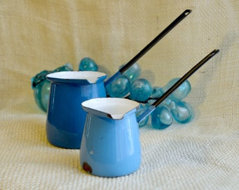 Enamel Turkish coffee pot // blue and white // butter warmer // vintage decor// made in Yugoslavia // set of 2