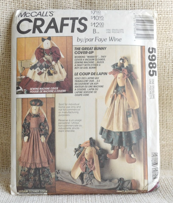 Uncut Bunny Covers McCalls 5985 Craft Sewing Pattern Faye | Etsy