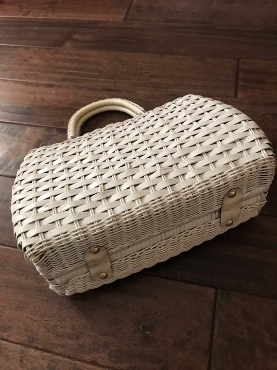 Vintage White Wicker Bag