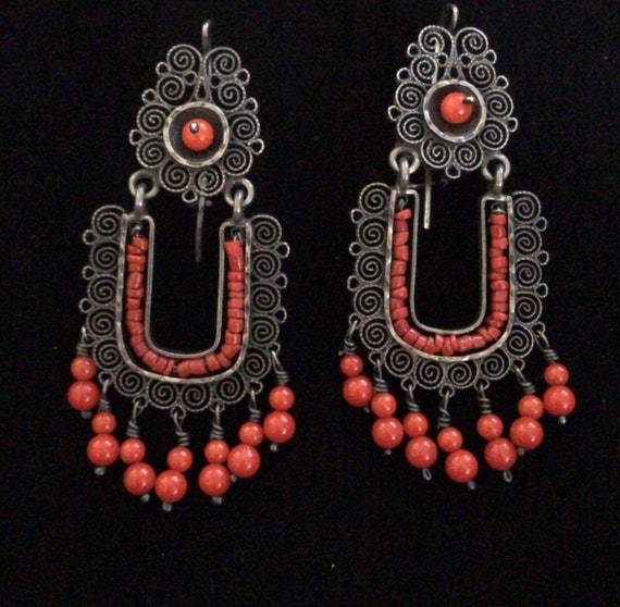 Vintage Silver and Coral Chandelier Earrings