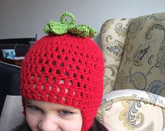 Strawberry ear flap hat