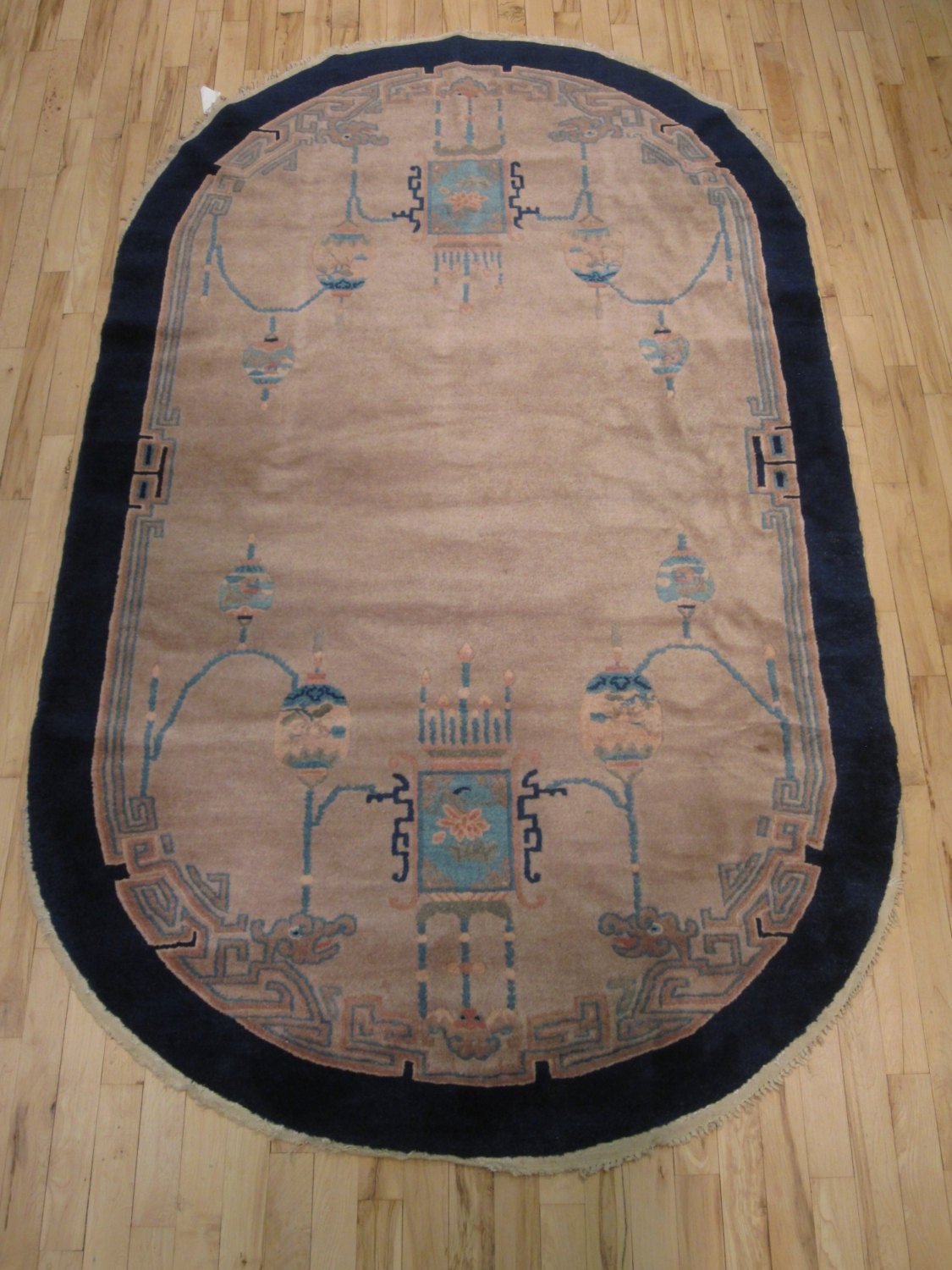 Oval Chinese Art Deco Oriental Rug Peking Ne China Etsy