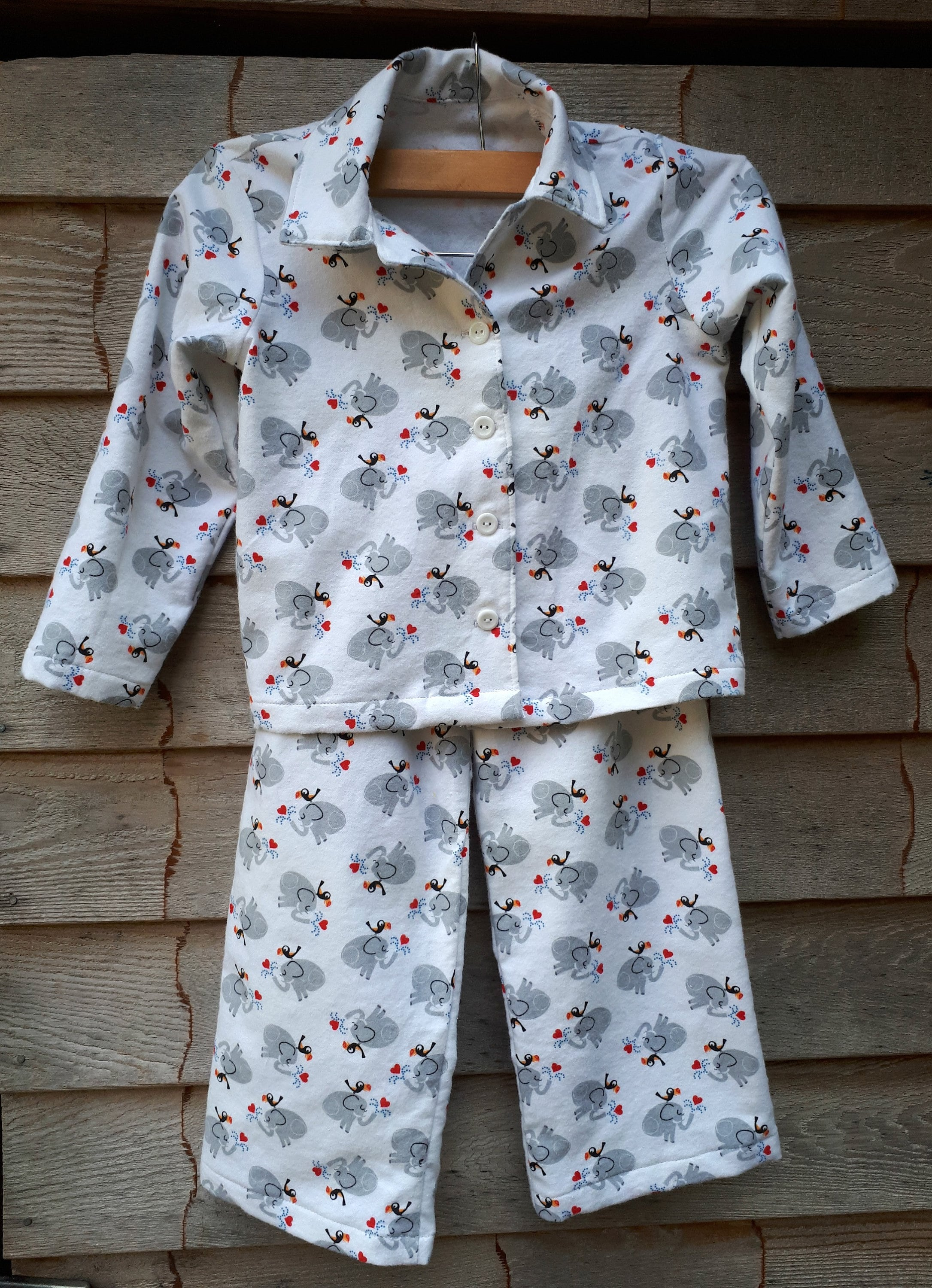 315a51a91 Elephant Flannel Pyjama Set Button Up Kids Pyjamas.