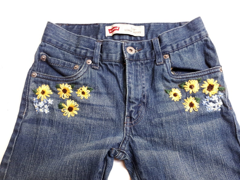 1aa73adf99 Girls Floral Hand Embroidered Jeans, Sunflower and Forget-me-not  embroidery, Size 12, Levi's 510