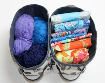 Cactus Fabric Baskets, Storage Bins, Set of 2.