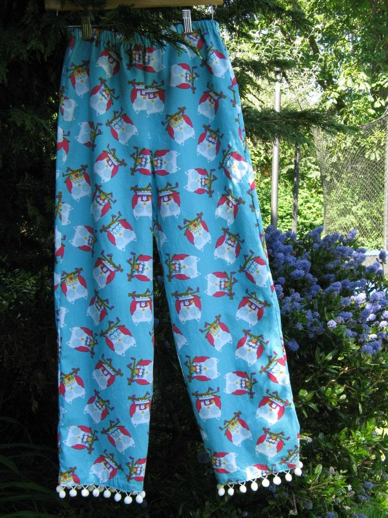 Girls Owl Lounge pants. Owl pajama pants with pom-pom trim Size 10