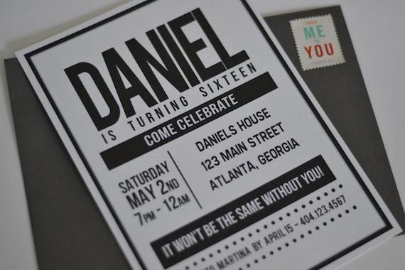 Large Name Birthday Invitation 5x7 Printable DIY Print At Home