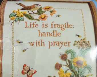 Life is Fragile Handle With Prayer CREATIVE CIRCLE #1004 Needlework Kit 1979