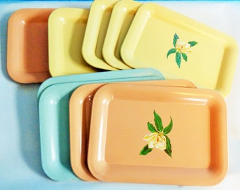 Small Tin Floral ''Tip'' Trays,  Mix or Match