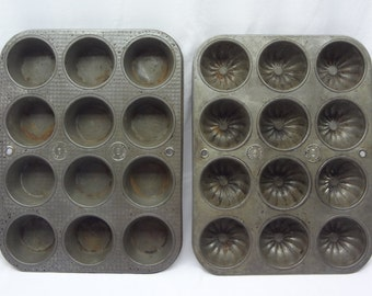 Pair (2) Vintage Ecko 12 Cup Muffin Pans