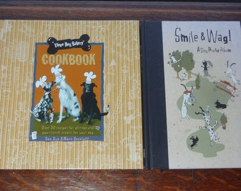 GIFT IDEA!  Pair of (2) Dog Books for Dog Lovers:  Three Dog Bakery Cookbook and Smile & Wag Dog Photo Album