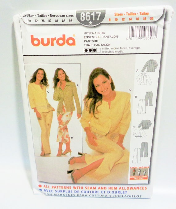 346b6103 UNCUT Burda 8617 Misses Pantsuit Pants and Jacket Sewing | Etsy