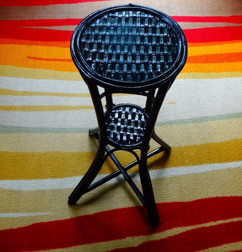 Black Laquered Wicker Stand