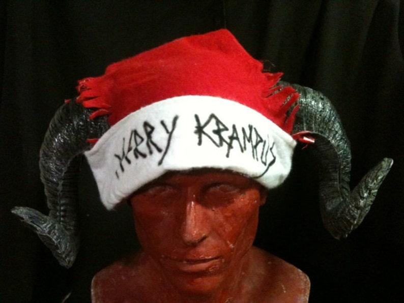 4b6172104e425 Merry Krampus ram horn santa hat