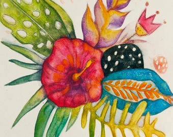 "ORIGINAL illustration ""Exotic flowers"" watercolor on paper 9X12 inches by Kim Durocher"