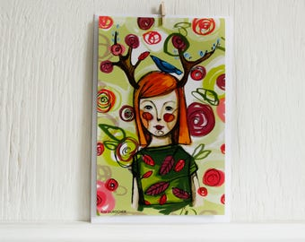 Large wood girl greeting postcard  illustrated by Kim Durocher