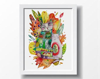 Fall CATS. Art print, illustration by Kim Durocher. Nature theme in soft colors.