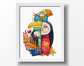 Exotic birds, spring art, pink, blue, yellow, orange and black. Art print, illustration by Kim Durocher. Nature colorful theme.