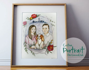 "Wedding portrait, wedding gift. 9""X12"" CUSTOM portrait, made to order. Watercolor illustration of your chidren, familly, animals or couple."