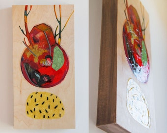 Original artwork on wood panel, nature inspired by Canadian artist and illustrator  Kim Durocher