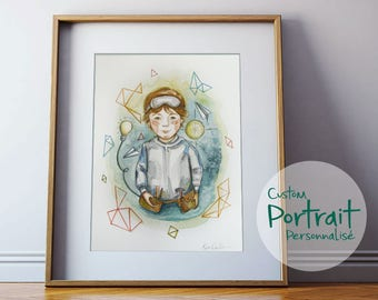 "9""X12"" CUSTOM portrait, familly portrait, made to order. Watercolor illustration of your chidren, familly, animals or couple."