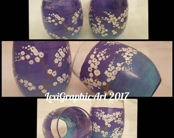 Cherry Blossoms - 2pc set Stemless Wine glasses; OOAK, hand painted