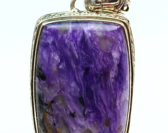 Gorgeous Polished Purple Charoite Sterling Silver Pendant