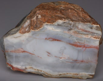 Beautiful Large Blue Chalcedony With Red Veins Faced Boulder