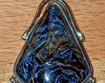 Beautiful Polished Chatoyant Blue Pietersite Cabochon .925 Silver Pendant