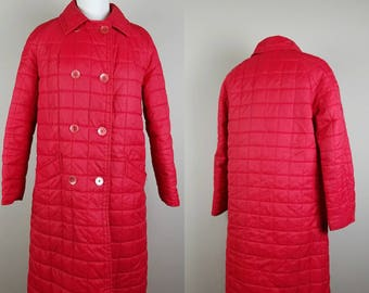 Vintage red coat - red long coat - red winter coat - 1980s red jacket - womens vintage coat - quilted red coat
