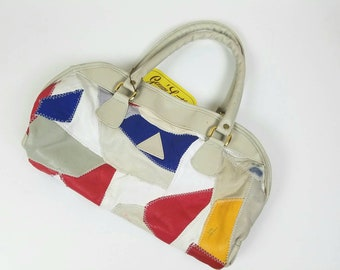 1980s patchwork purse - 80s handbag - white blue red satchel - vintage 80s purse - vintage handbag