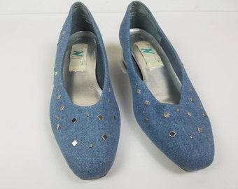 Vintage denim heels - silver studded black  heels - 1980s high heels - 80s vintage shoes - size 7.5