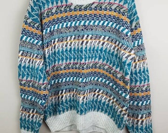 Mens large ugly sweater - 1980s mens sweater - large sweater