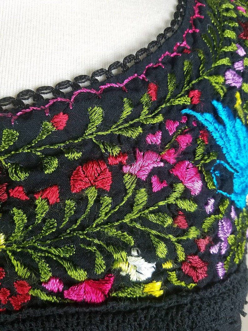 Spanish style shirt with short sleeves black tunic Mexican embroidery top tunic with colorful embroidered floral top