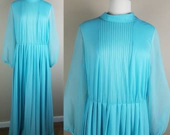 1970s blue polyester maxi dress - dress with sheer sleeves - long vintage dress - plus size 70s dress