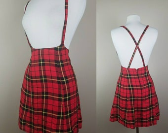 Red tartan plaid skirt with suspenders - skirt with straps - red and black plaid - 1980s skirt - vintage jumper for women