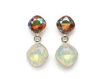 Crystal drop earrings 2, Sterling silver crystal earrings, Gift for her, Geometric earrings