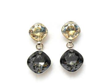 Crystal drop earrings 3, Sterling silver crystal earrings, Gift for her, Geometric earrings