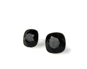 Black Stud earrings, Black studs, 10mm Earring Studs, Black crystal earrings