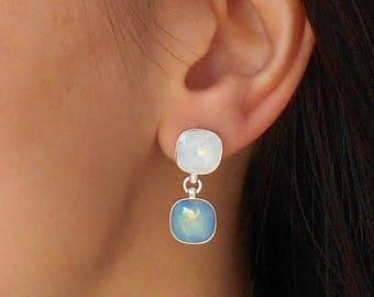 Crystal drop earrings, Double crystal earrings, Sterling silver earrings