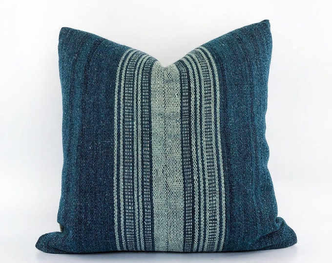 Handwoven Indian Wool Teal Blue Pillow Cover 20x20