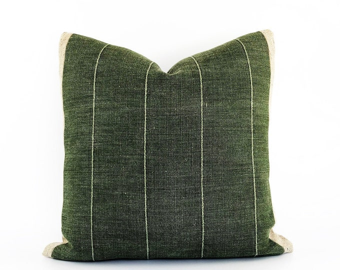 Designer Green Linen And Belgian Linen Pillow Cover 20x20
