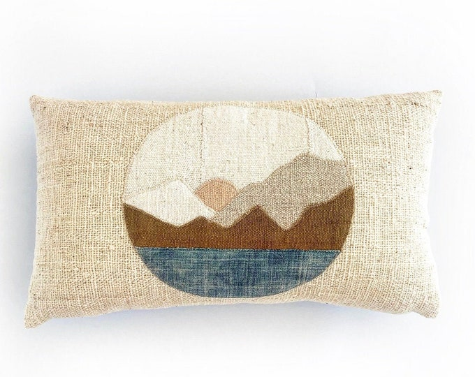 African Mudcloth Modern Minimal Landscape Pillow Cover 14x24
