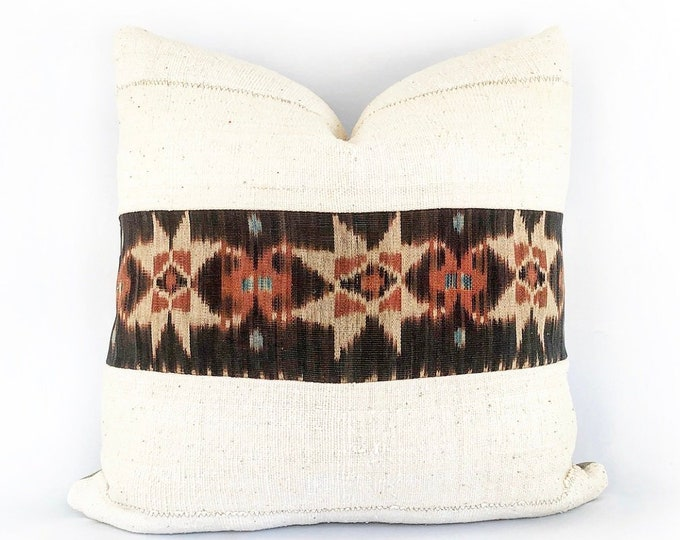Vintage Indonesian Tribal Ikat And African Mudcloth Pillow Cover 20x20