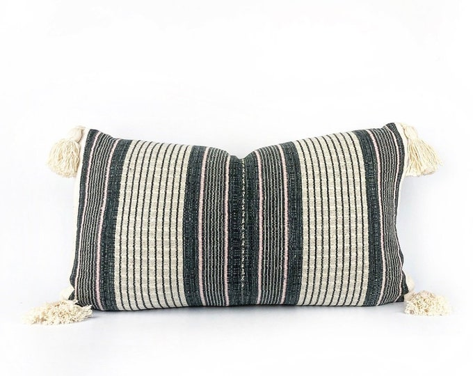Hmong Hill Tribe Navy Blue And Pink Stripe Textile, African Mudcloth And Tassel Lumbar Pillow Cover 14x24