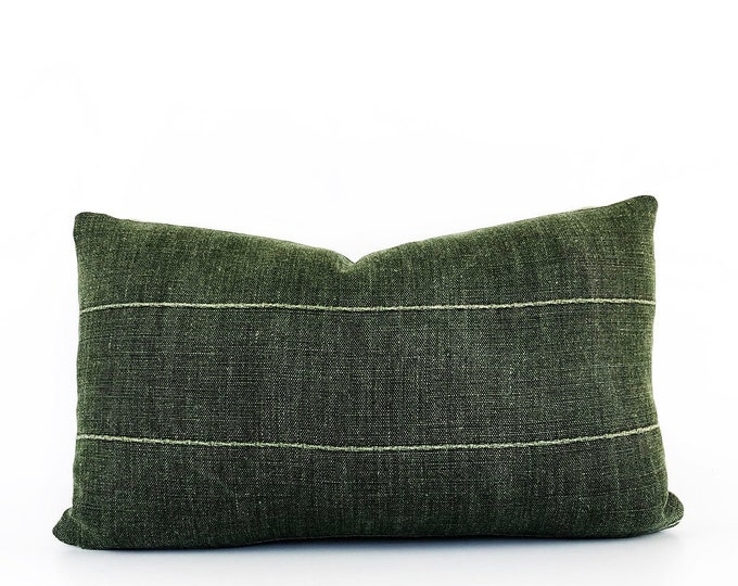 Green Linen Designer Lumbar Pillow Cover 12x20