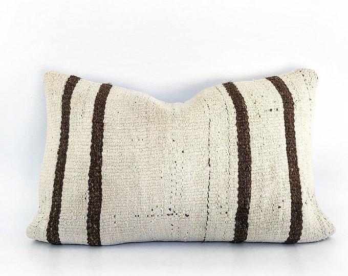 Vintage Handmade Wool Kilim Lumbar Pillow Cover 15x24