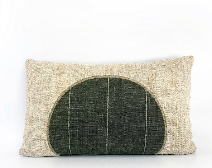 Antique French Linen And Designer Green Linen Circle Pillow Cover 12x20