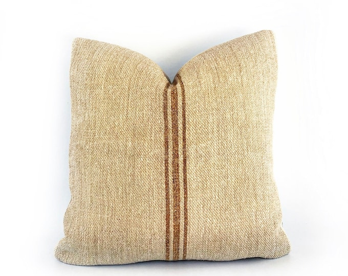 Antique French Grain Sack With Terra-Cotta Stripes Pillow Cover 20x20